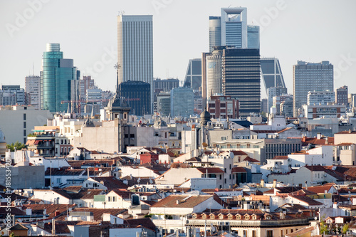 Aerial view of the city of Madrid including the business and financial district