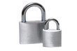 two padlocks on white background