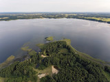 Aerial view over beautiful lake valley in Lithuania, during summer season. - 181557656