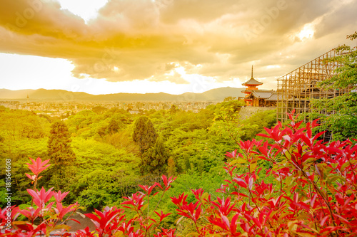 Staande foto Kyoto Spectacular aerial view of Kiyomizu-dera Temple with Pagoda and main hall in renovation. Sunset light in spring time. Scenic view of Kyoto city in japan. Meditation, Buddhism and Zen Concept.