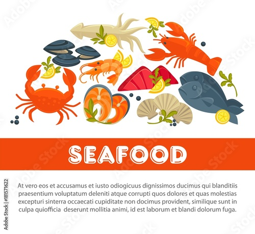 Fototapeta Seafood fresh fish poster sea food restaurant fisher market and chef cooking recipe