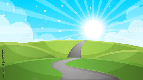 In de dag Pool Cartoon landscape - road illustration. Vector eps 10