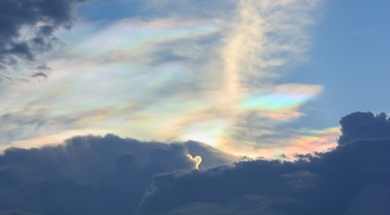 Beautiful rainbow clouds on the sky.