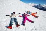 small children in ski resort - 181585602