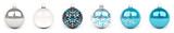 Blue christmas bauble collection 3D rendering