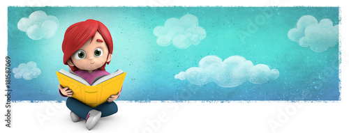 niña sentada leyendo un libro - 181587069