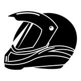 Motorcycle helmet racing icon, simple black style