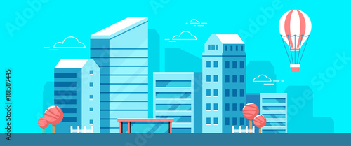 Foto op Plexiglas Turkoois Vector colorful illustration of city landscape on blue background. Urban european city with tree, cloud, air balloon.