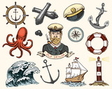 Marine and nautical or sea, ocean emblems. set of engraved vintage, hand drawn, old, labels or badges for a life ring, a cannon ball, a captain with a pipe. welcome aboard, two anchors, sailor. - 181591284