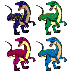 Isolated illustration set of a cartoon dinosaurs.