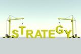 STRATEGY business building concept crane white background 3d illustration
