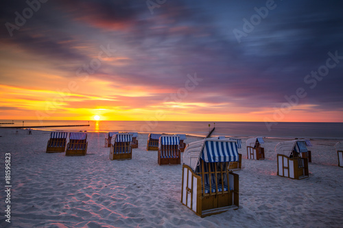 Baltic sea during sunset. Polish coast