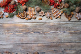 Christmas background on a wooden - 181599824