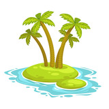 Cartoon island with palms - 181602060