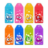 Colorful labels with funny jelly cartoon characters. - 181602404