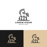 horse logo vector icon line art outline download
