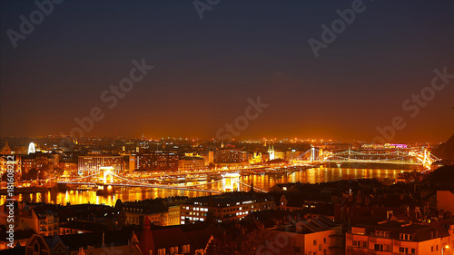 Fotobehang Boedapest Night Budapest with the Danube and Chain Bridge, Hungary. Aerial view of Budapest. Hungary.
