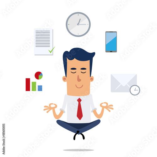 Naklejka Businessman meditating, he has some icons around him