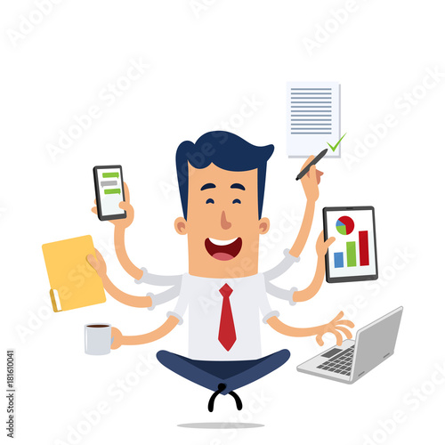 Poster Happy businessman while doing several tasks at the same time