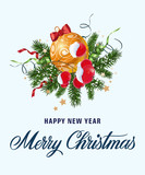 Greeting lettering, bauble and mistletoe - 181614808