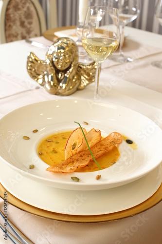 Fine dining vegetable creme soup