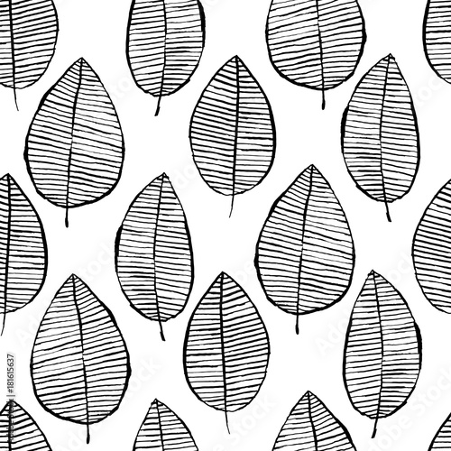 Vector seamless pattern with watercolor hand drawn leaves. Black and white outline background. Trendy scandinavian design concept for fashion textile print. Nature illustration. - 181615637
