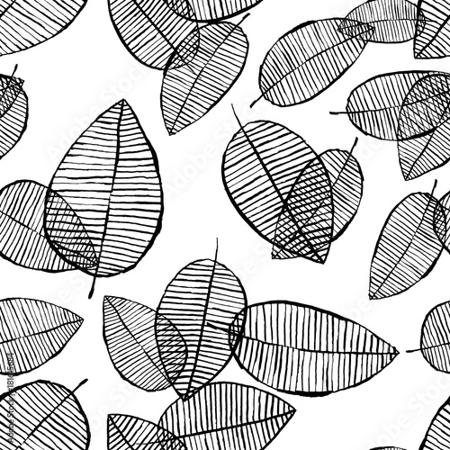 Vector seamless outline leaves pattern. Black and white background made with watercolor, ink and marker. Trendy scandinavian design concept for fashion textile print. Nature illustration. - 181615684