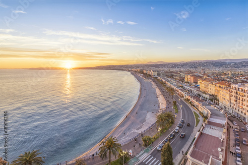 Foto Spatwand Nice Coast of Azure on sunset in Nice, French Rivera