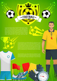 Football sport game banner with soccer club badge - 181616452