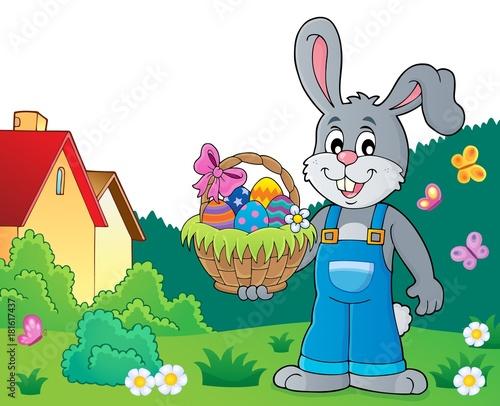 In de dag Voor kinderen Bunny holding Easter basket theme 7