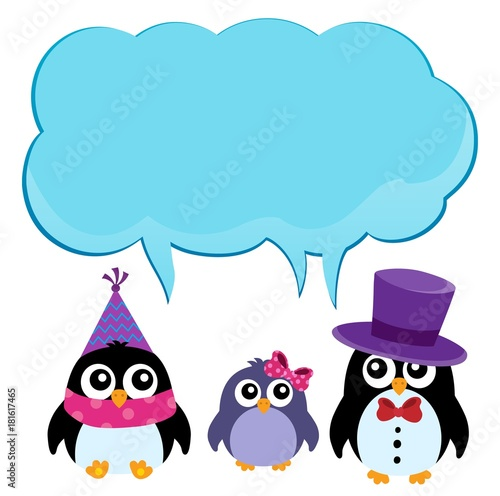 Foto op Canvas Voor kinderen Party penguins with copyspace theme 2