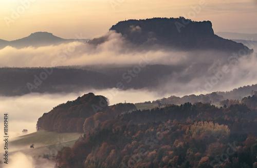 Staande foto Ochtendgloren Foggy morning, Saxon Switzerland, Germany