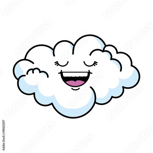 cute cloud kawaii character vector illustration design - 181621297
