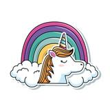 cute fantasy unicorn with rainbow character vector illustration design - 181621474