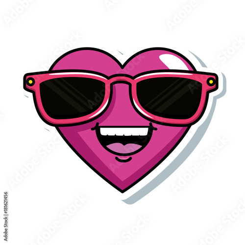 cute heart with sunglasses kawaii character vector illustration design - 181621456