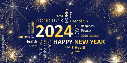 Poster Happy new year 2024 greeting card