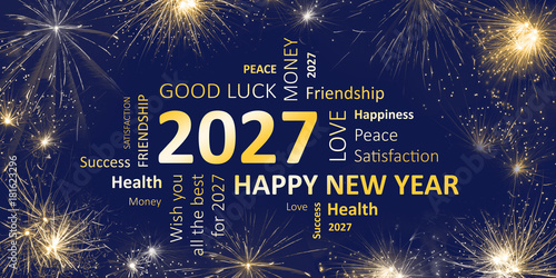Poster Happy new year 2027 greeting card