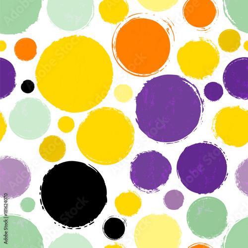 Plexiglas Abstract met Penseelstreken seamless polka dots background pattern, with circles, strokes and splashes