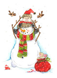 Watercolor illustration with grandfather Santa Claus, rabbit, little bird and snowman. Christmas child illustration. Happy new Year. - 181626227
