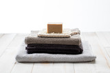 Clean eco-friendly towels with simple solid soap, studio shot - 181627409