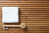 Still life for dry brushing, hygiene, bath, top view wallpaper - 181627477