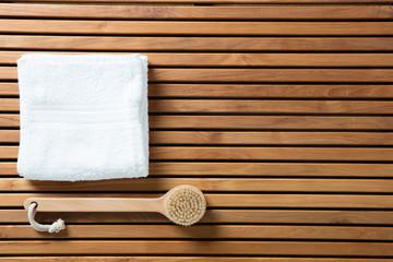 Still life for dry brushing, hygiene, bath, top view wallpaper © STUDIO GRAND WEB