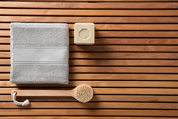 eco-friendly shower or traditional body care concept, top view © STUDIO GRAND WEB