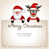 Postcard with Christmas reindeer and Santa. - 181628830