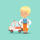 Flat vector of baby boy in white medical coat and stethoscope around his neck standing with hands in pockets near toy ambulance car