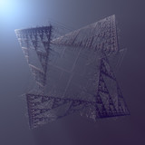 Abstract geometric wire fractal shape 3d rendering