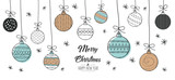 Set of hand drawn christmas baubles. Decoration isolated elements. Doodles and sketches vector illustration - 181632861