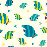Seamless pattern with butterfly fish.