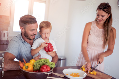 Happy family in the kitchen. - 181634241