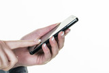 sms is written on the mobile phone